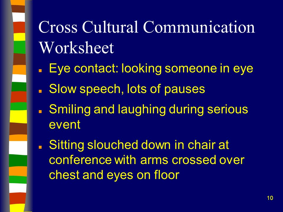 Cross Cultural Communication Worksheet