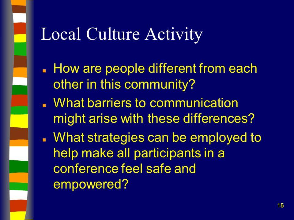 Local Culture Activity