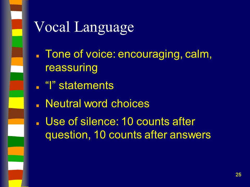 Vocal Language Tone of voice: encouraging, calm, reassuring