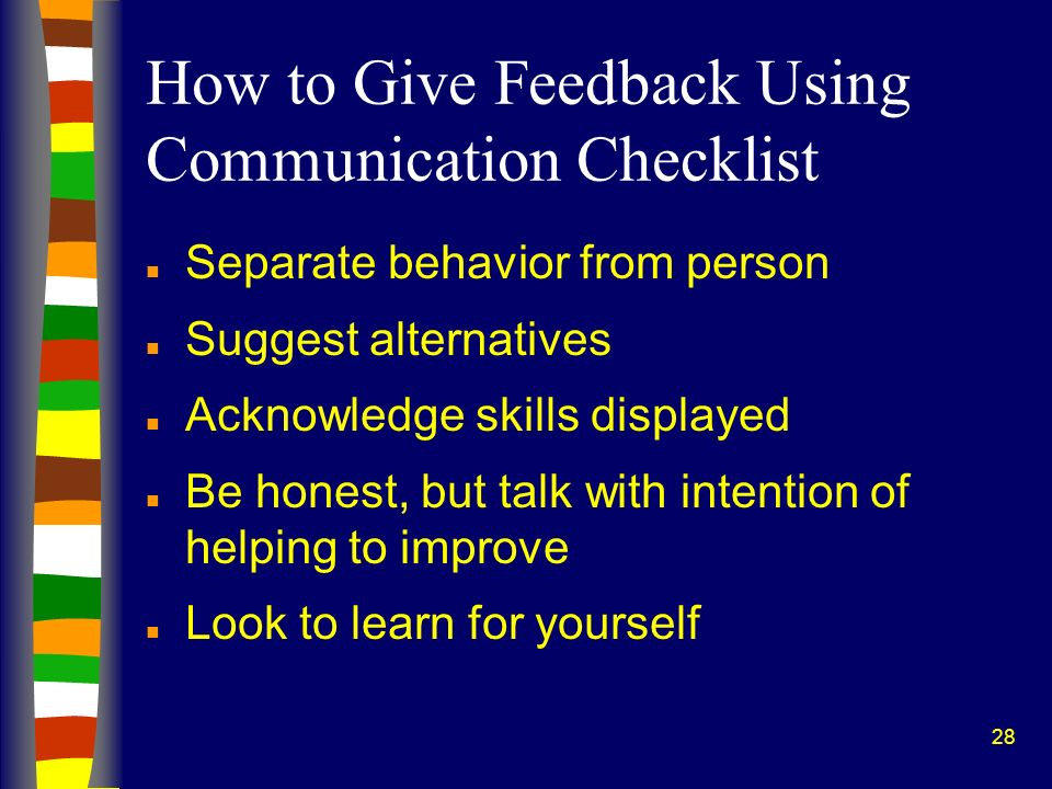 How to Give Feedback Using Communication Checklist