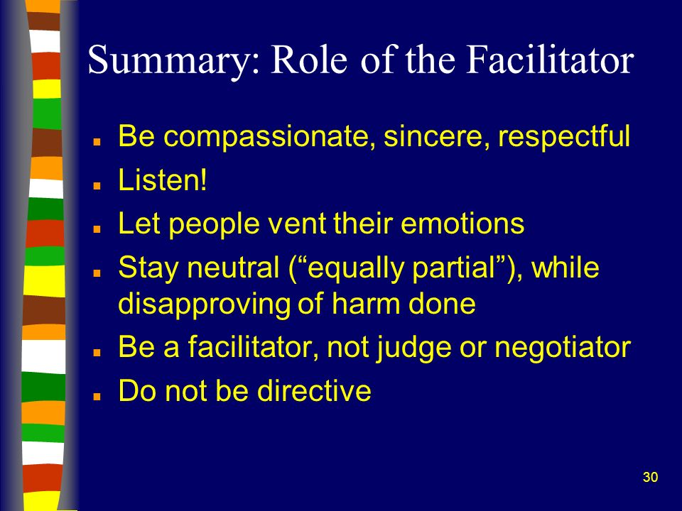 Summary: Role of the Facilitator
