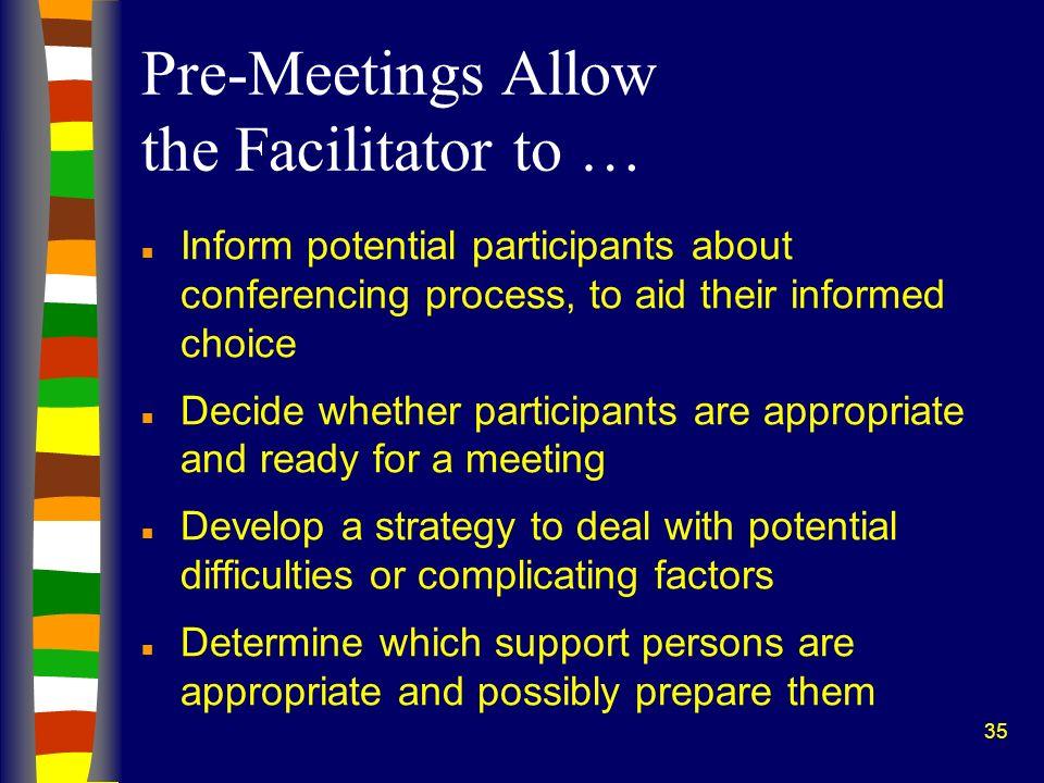 Pre-Meetings Allow the Facilitator to …