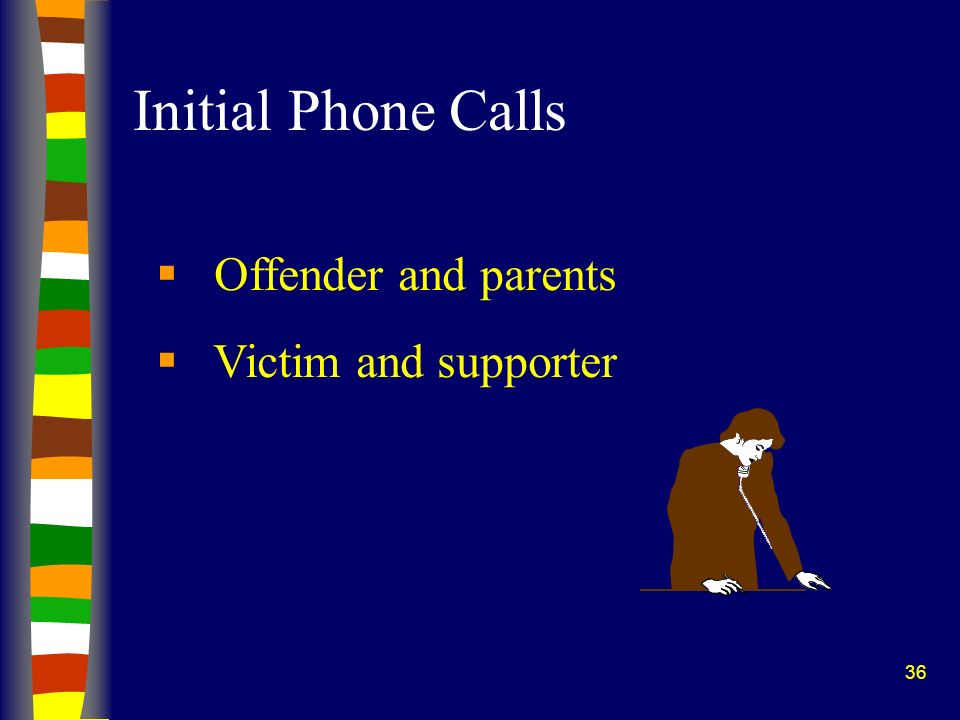 Initial Phone Calls Offender and parents Victim and supporter