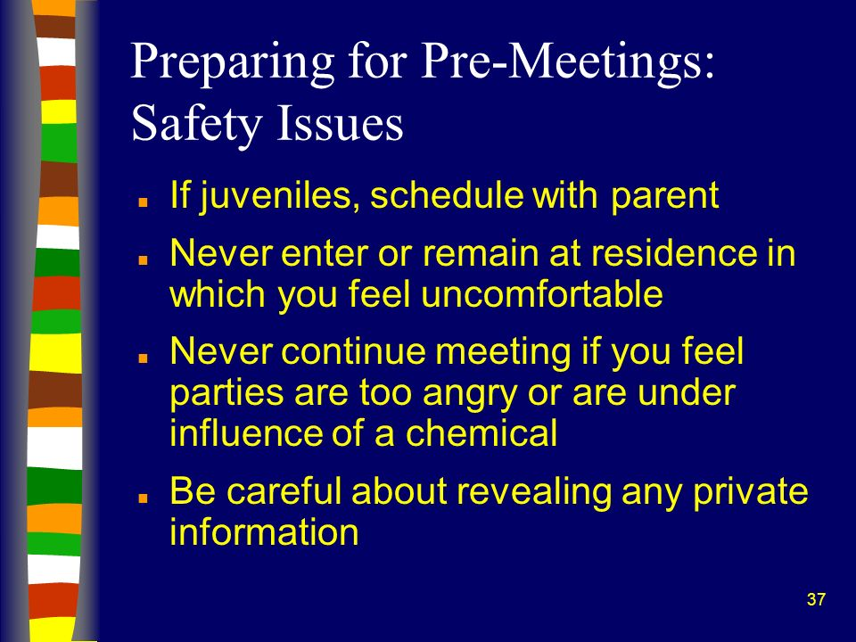 Preparing for Pre-Meetings: Safety Issues