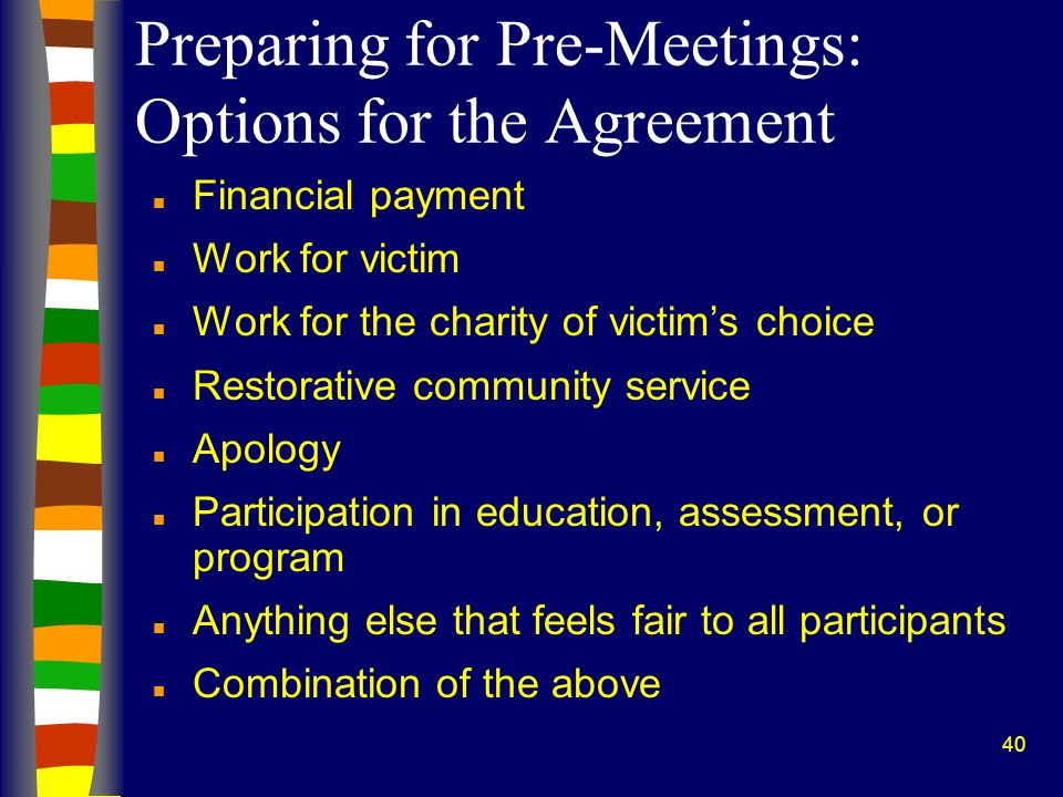 Preparing for Pre-Meetings: Options for the Agreement