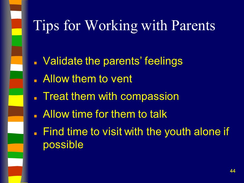 Tips for Working with Parents