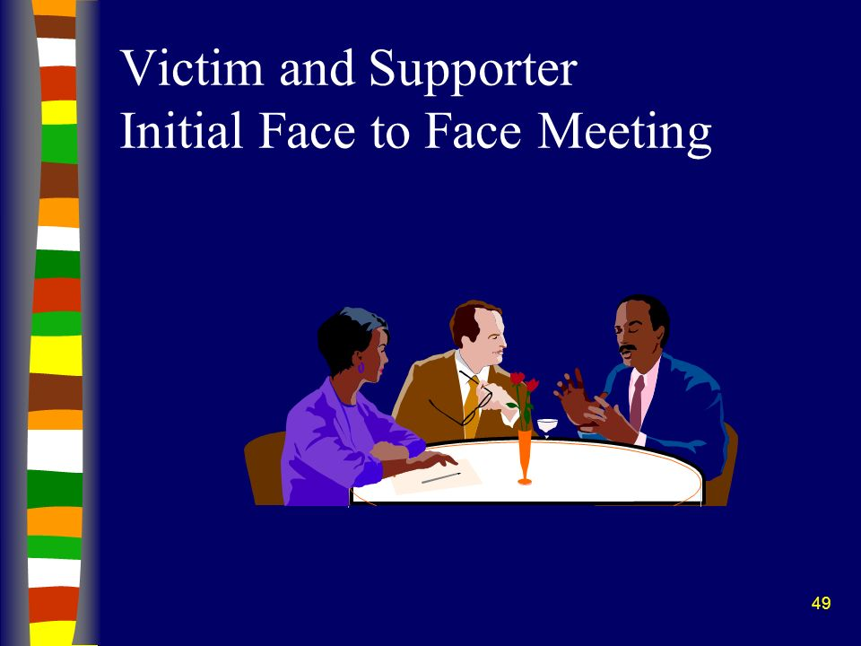 Victim and Supporter Initial Face to Face Meeting