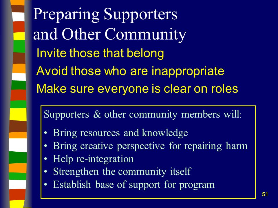 Preparing Supporters and Other Community