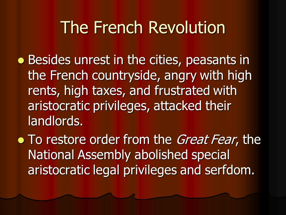 essays on the french revolution the countryside Sample of the french revolution essay (756% of the frenchmen lived in the countryside) related essays chinese history.