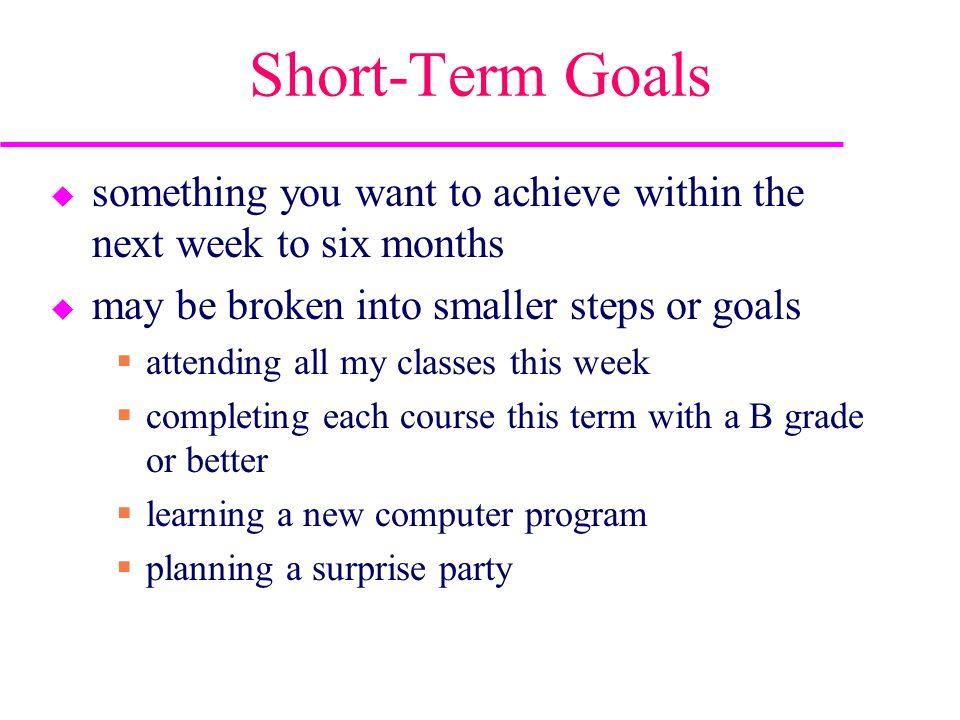 Short Term Goals : Time management goals explain the importance of setting