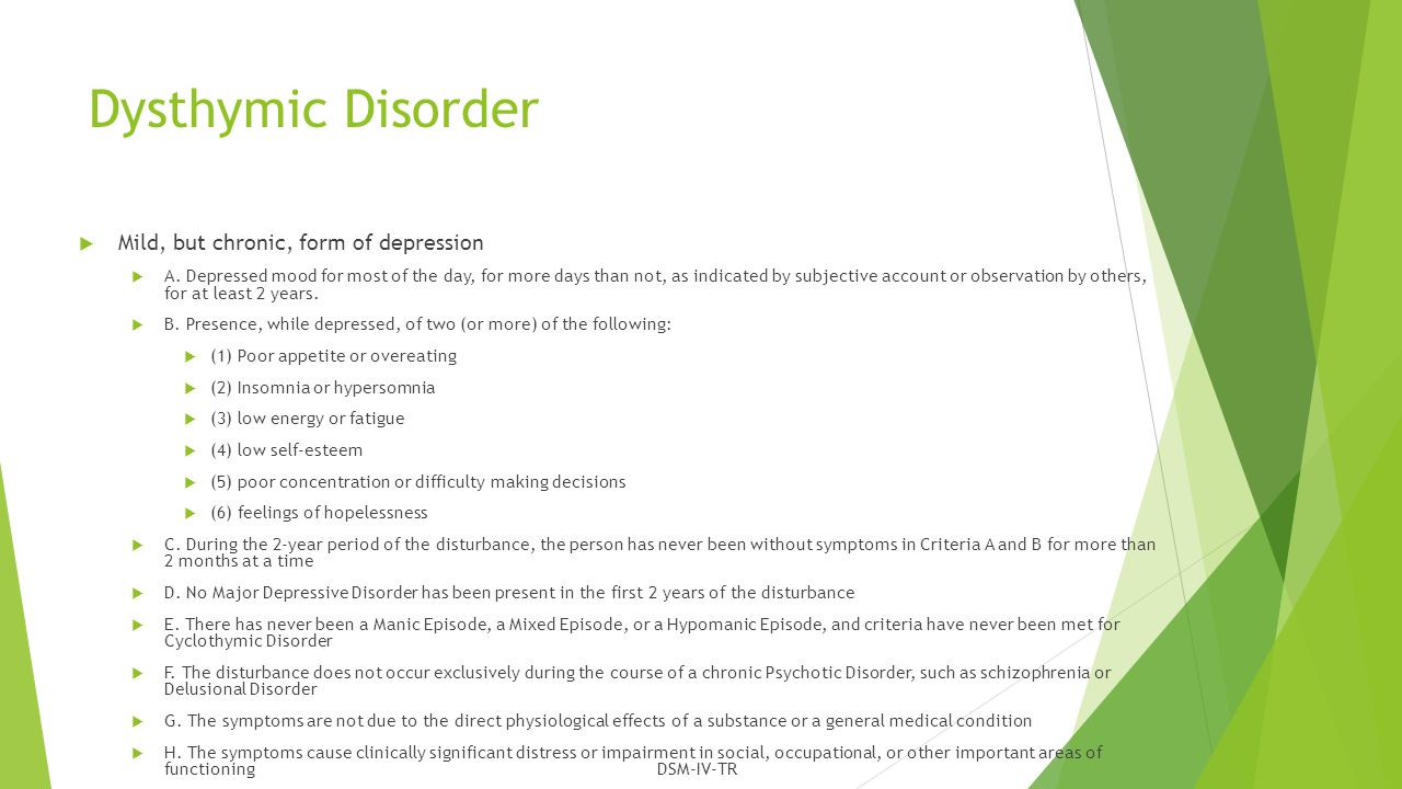Persistent Depressive Disorder (Dysthymia)