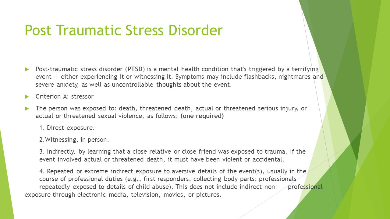 Post traumatic stress disorder in the Term paper Example - July 2019