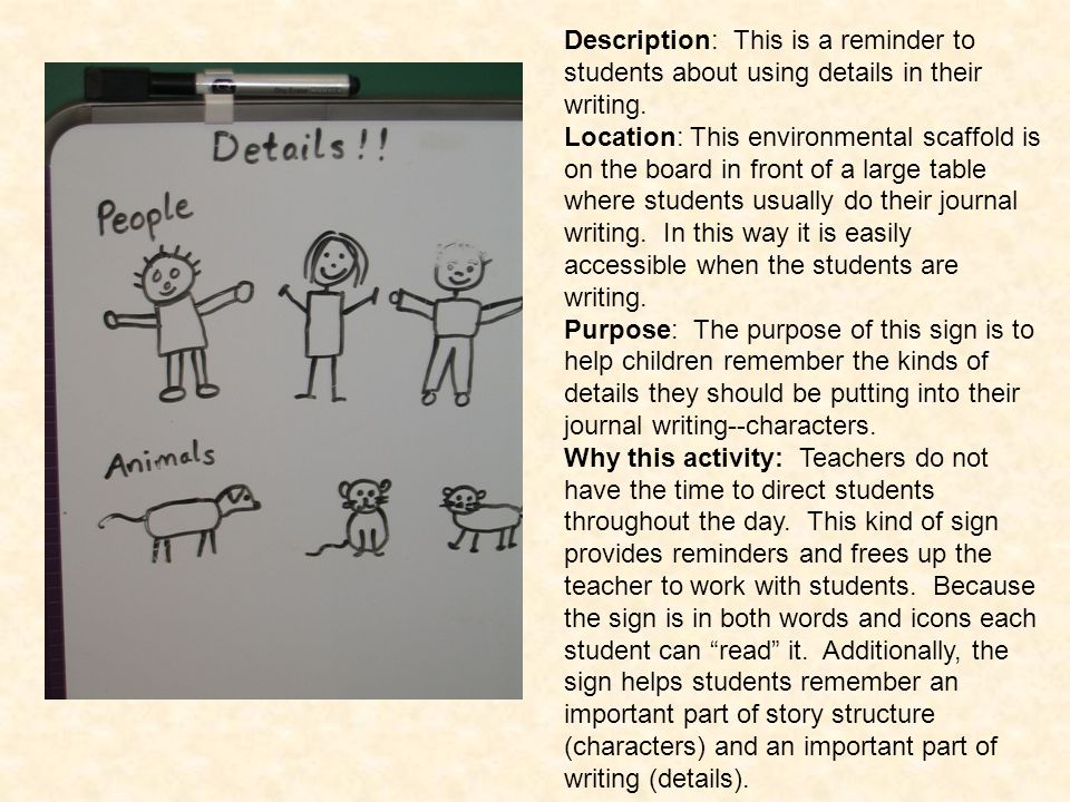 Description: This is a reminder to students about using details in their writing.