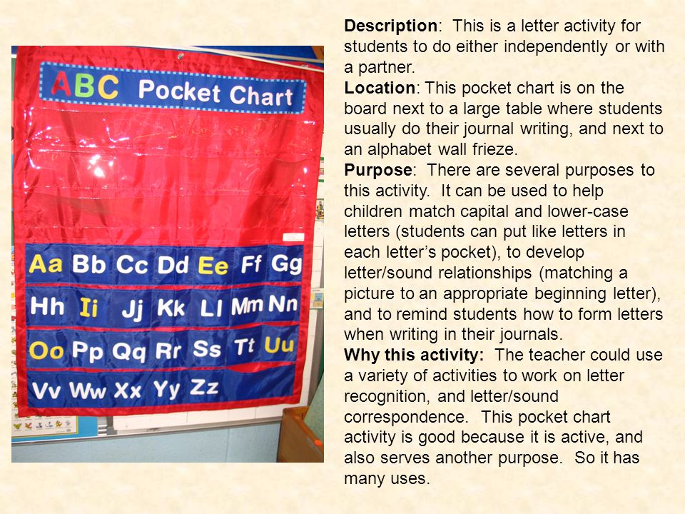 Description: This is a letter activity for students to do either independently or with a partner.