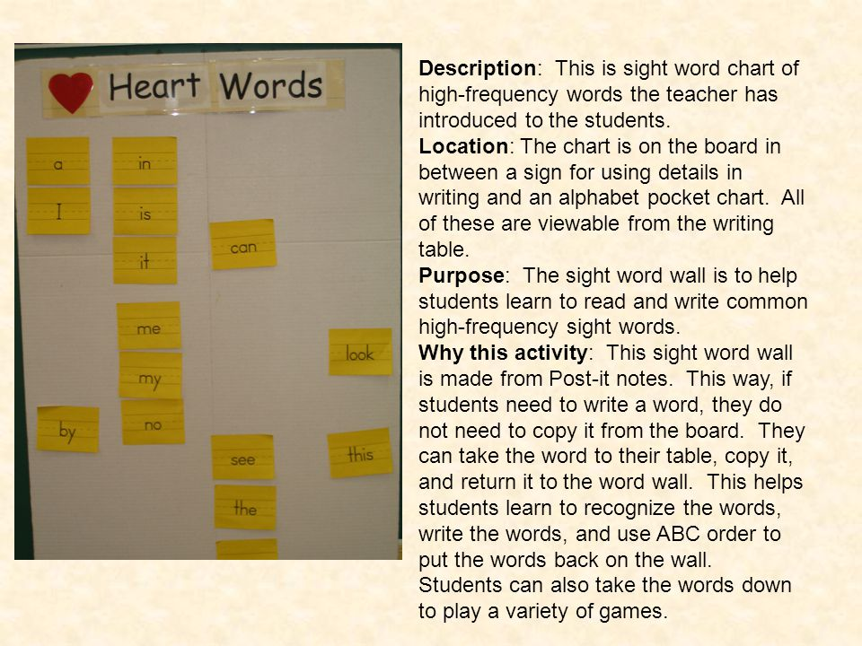 Description: This is sight word chart of high-frequency words the teacher has introduced to the students.
