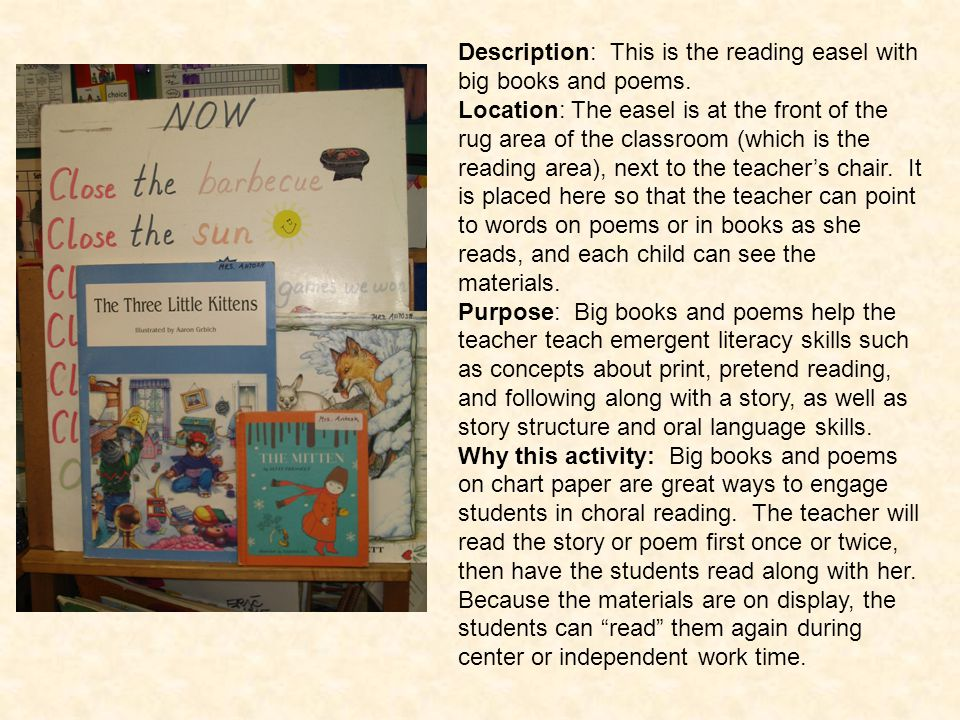 Description: This is the reading easel with big books and poems.