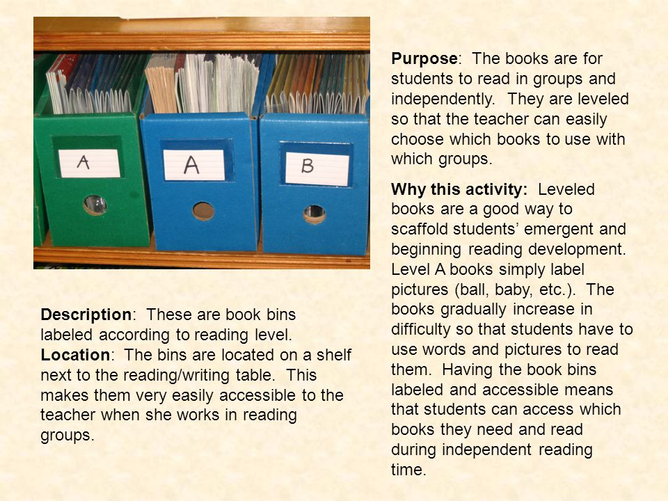 Purpose: The books are for students to read in groups and independently. They are leveled so that the teacher can easily choose which books to use with which groups.