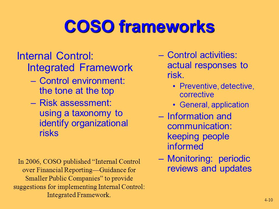 internal control integrated framework Based on coso's 2013 internal control — integrated framework, obtaining this certificate will help your company gain operational efficiencies, deter fraud, make better business decisions and positively influence better risk management practices.