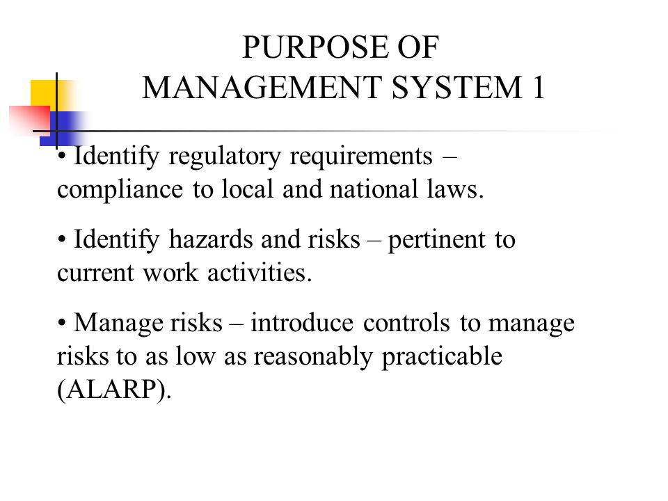 PURPOSE OF MANAGEMENT SYSTEM 1