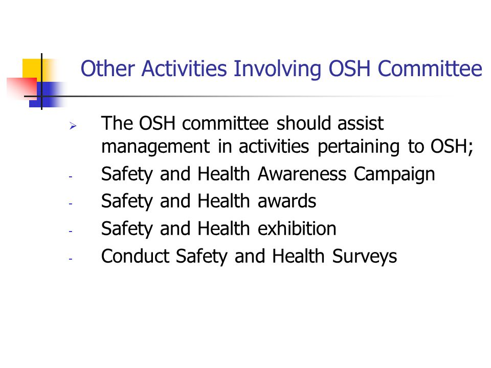 Other Activities Involving OSH Committee