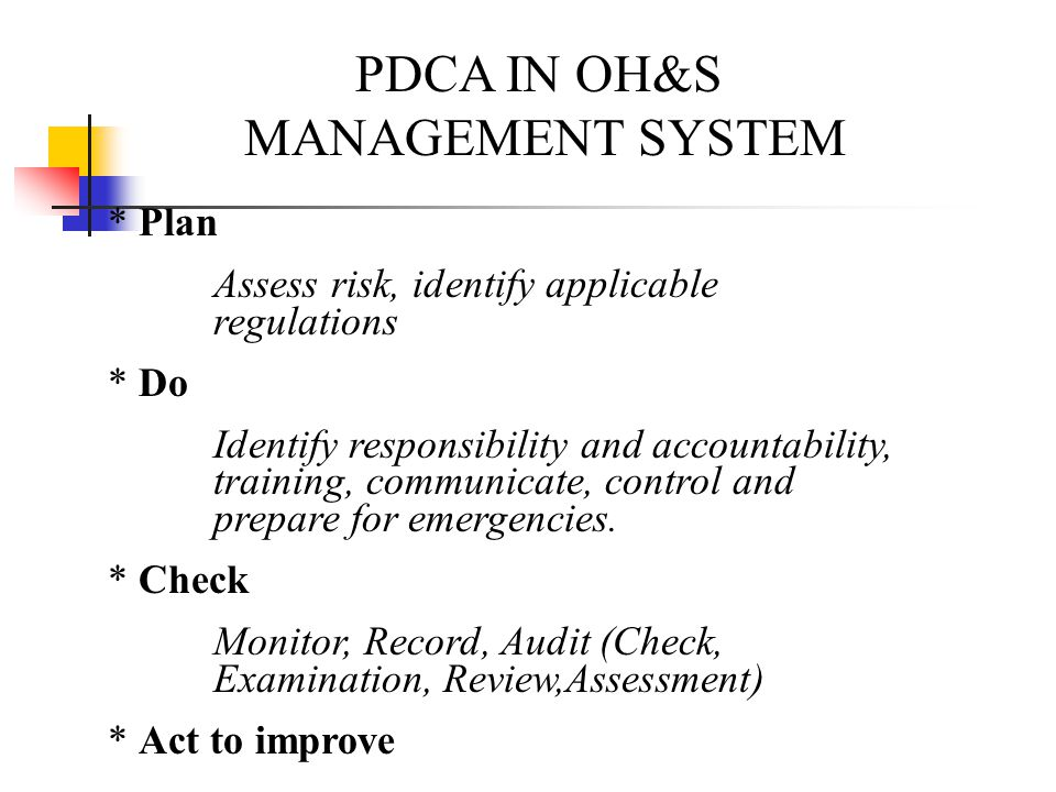PDCA IN OH&S MANAGEMENT SYSTEM * Plan