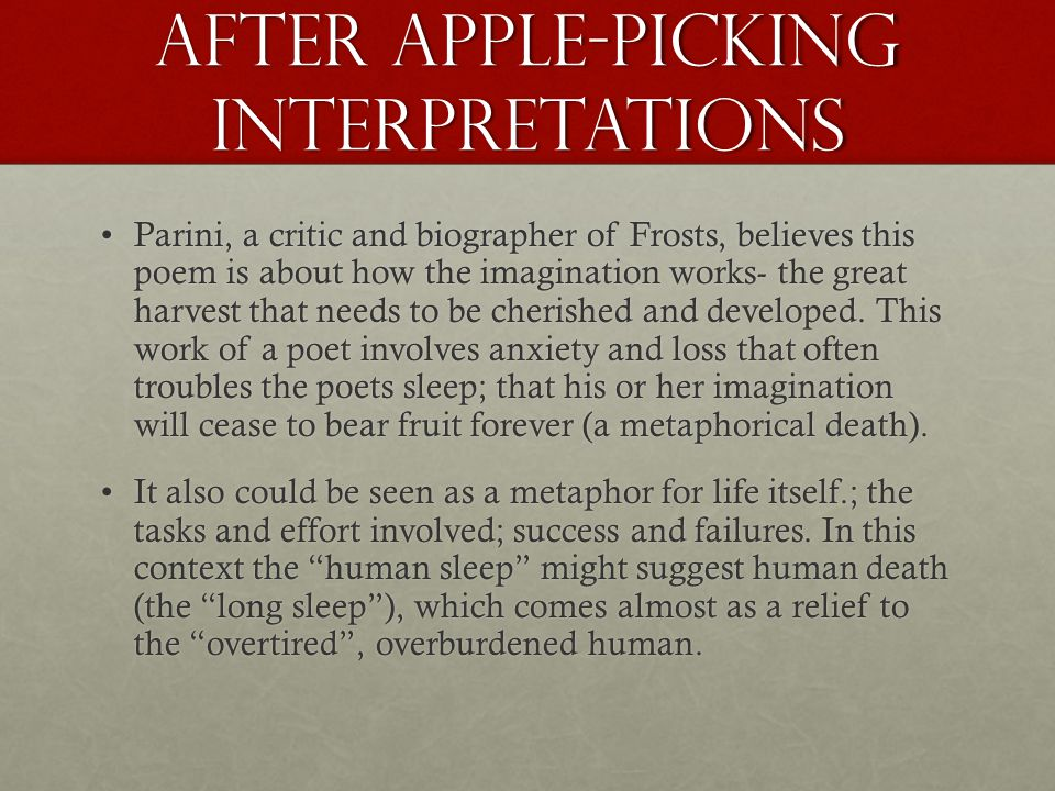robert frost ppt after apple picking interpretations