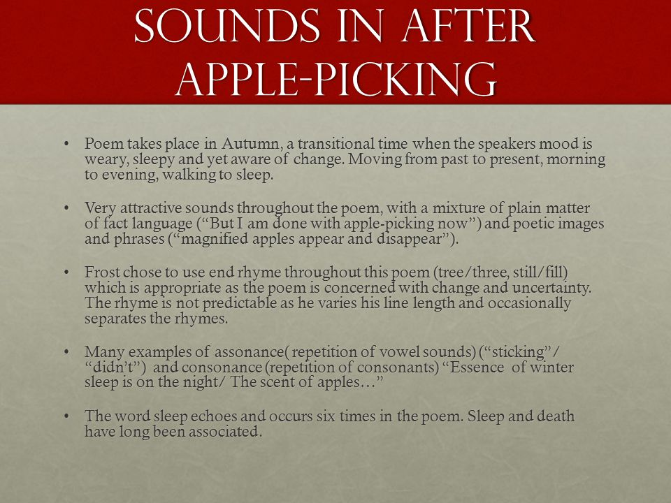 robert frost ppt sounds in after apple picking