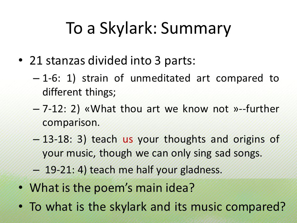 does percy bysshe shelley express idea skylark being super