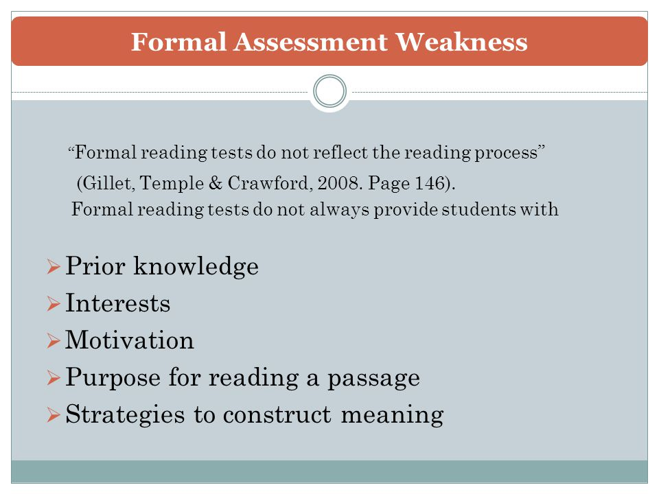 Informal And Formal Reading Assessment - Ppt Video Online Download