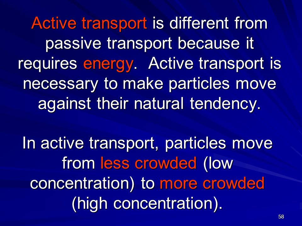 facts on active transportation Active transport moves ions or molecules in a specific direction through the use of an integral membrane protein think of these like different gates at the fair.