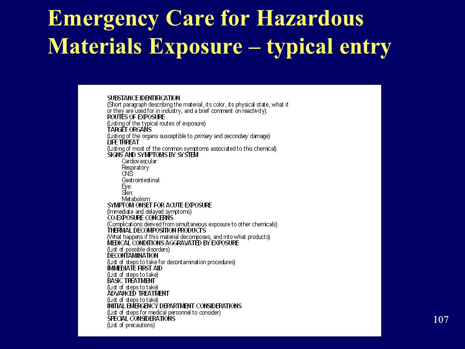 Emergency Care for Hazardous Materials Exposure – typical entry