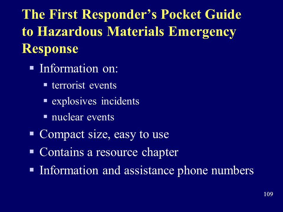 The First Responder's Pocket Guide to Hazardous Materials Emergency Response