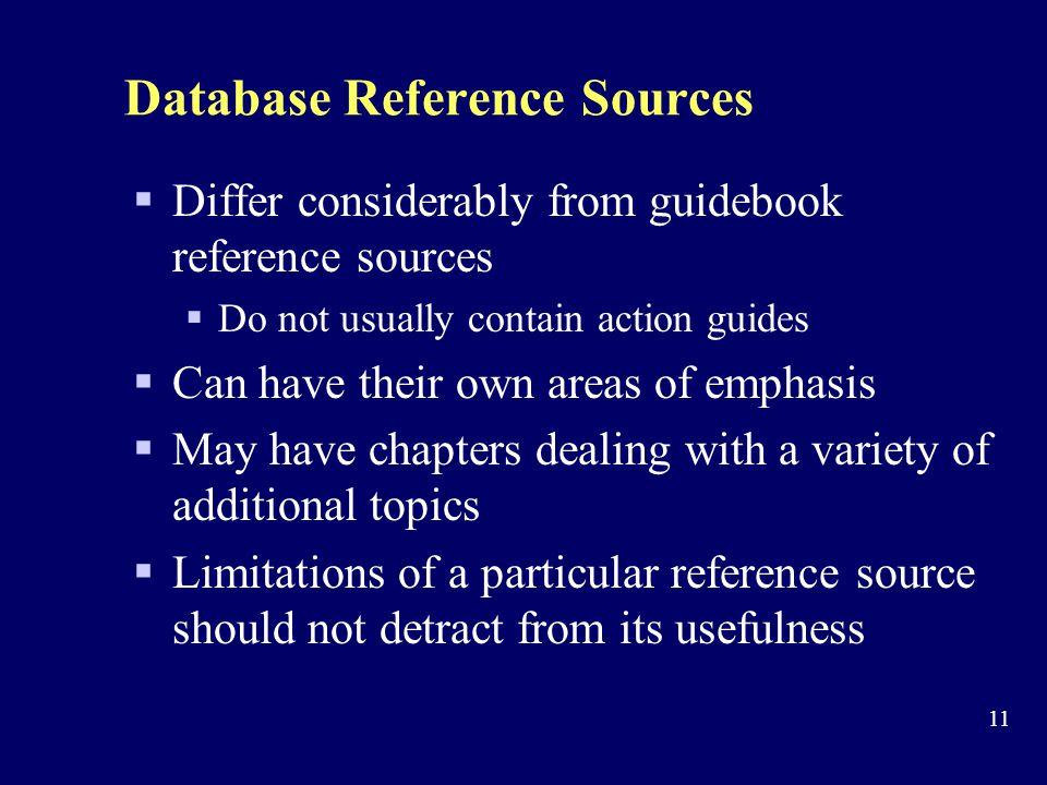 Database Reference Sources