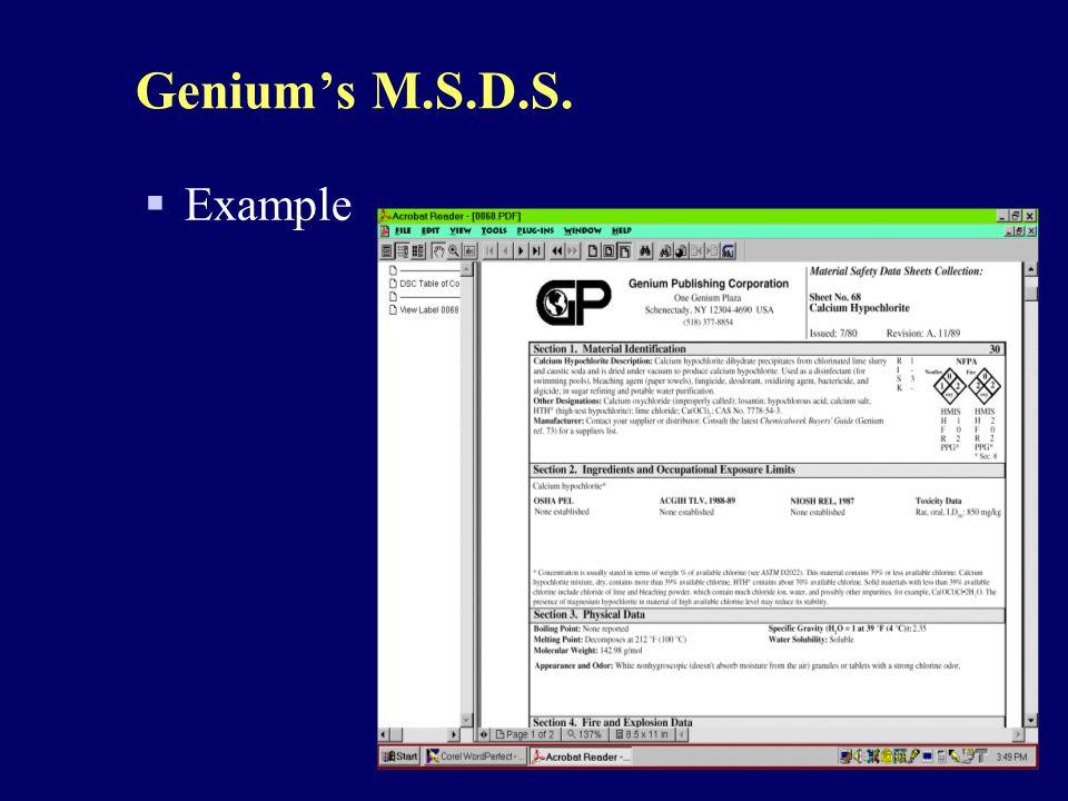 Genium's M.S.D.S. Example