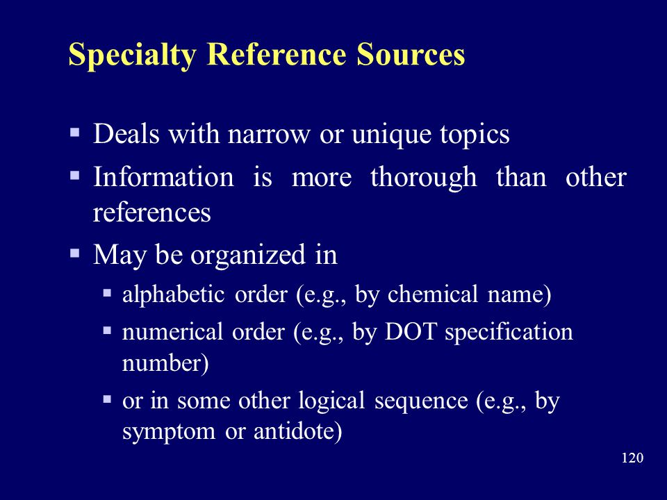 Specialty Reference Sources
