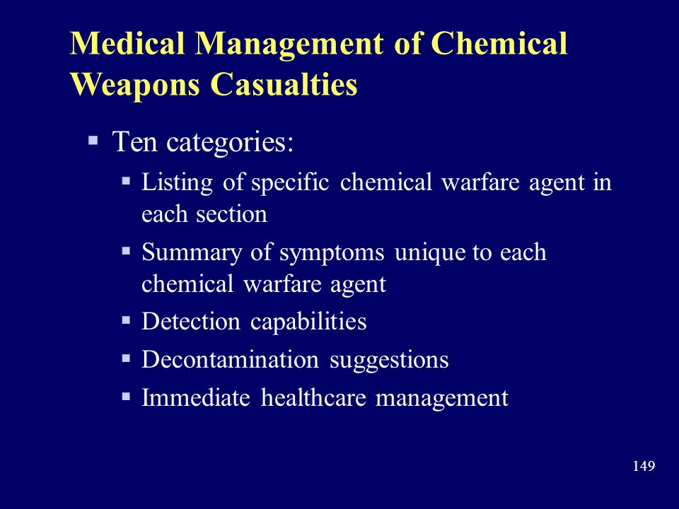 Medical Management of Chemical Weapons Casualties