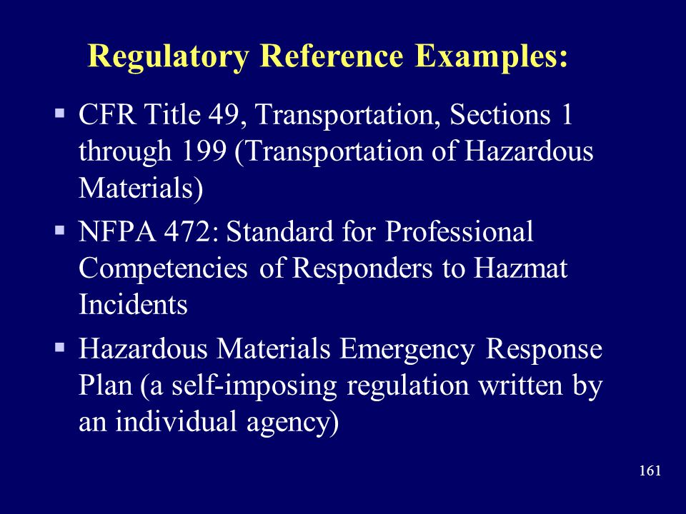 Regulatory Reference Examples: