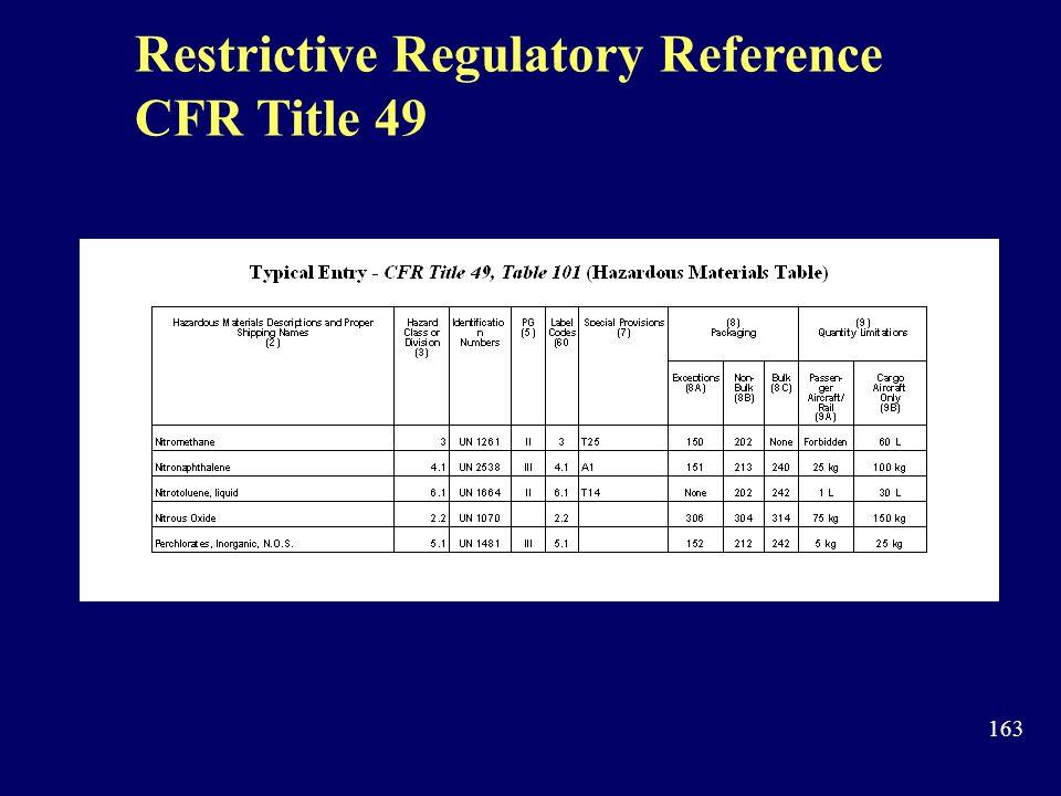 Restrictive Regulatory Reference CFR Title 49
