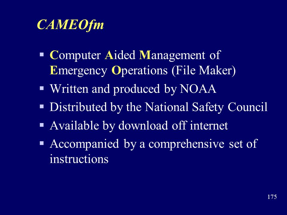 CAMEOfm Computer Aided Management of Emergency Operations (File Maker)