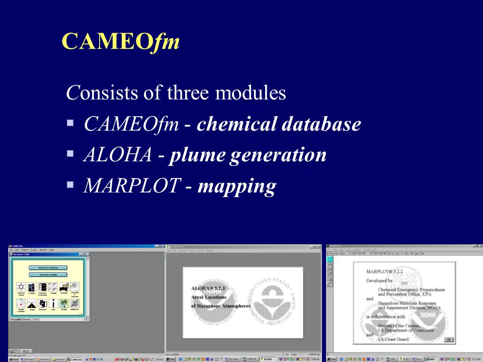 CAMEOfm Consists of three modules CAMEOfm - chemical database