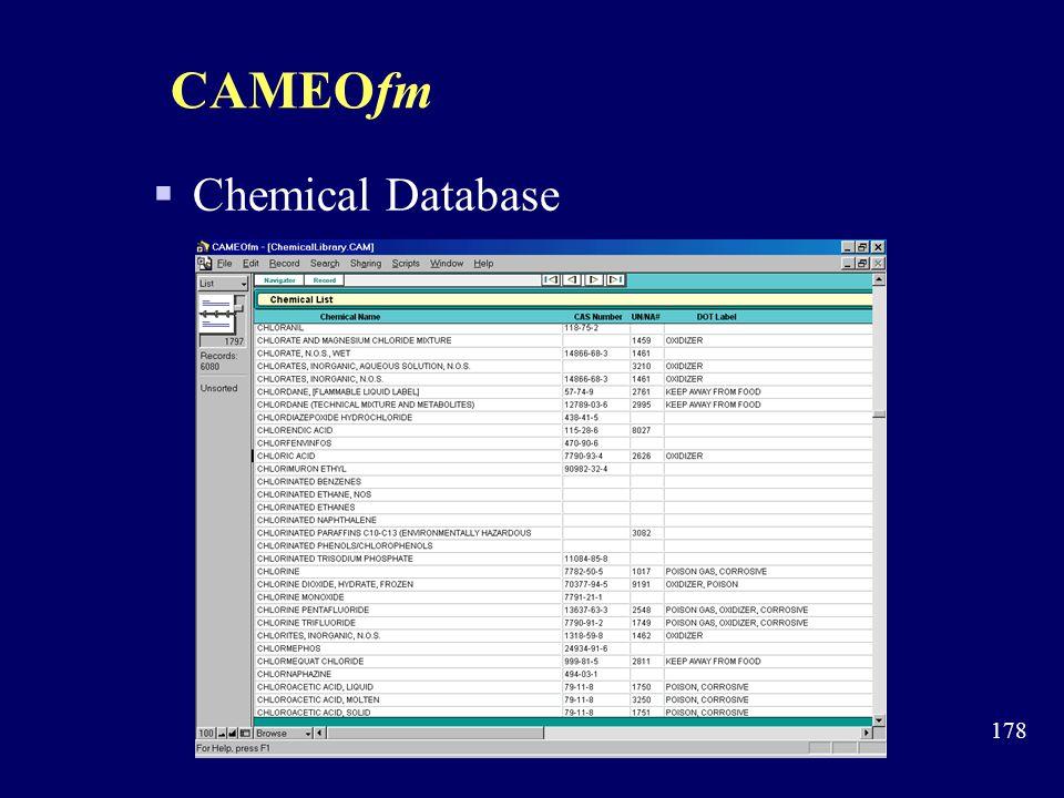 CAMEOfm Chemical Database