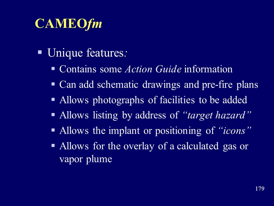 CAMEOfm Unique features: Contains some Action Guide information