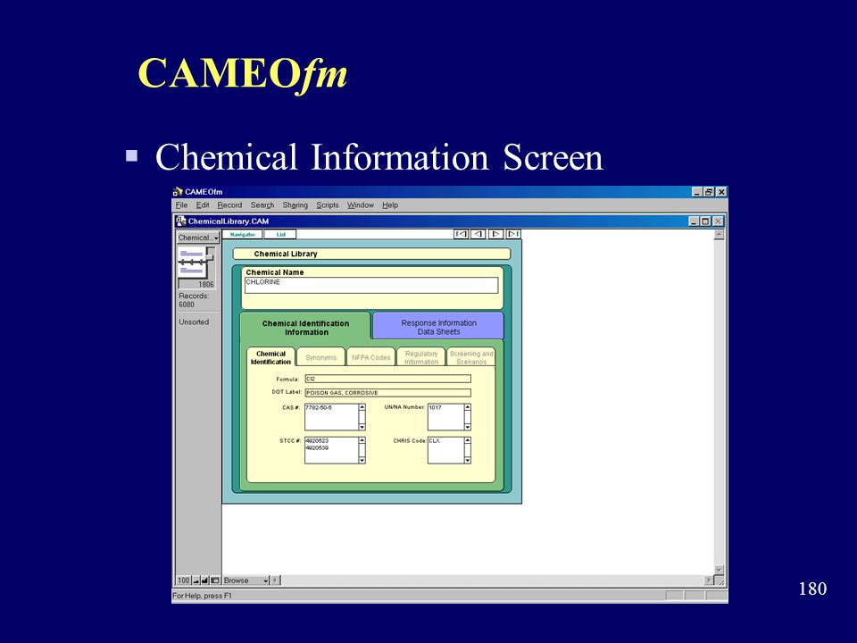 CAMEOfm Chemical Information Screen