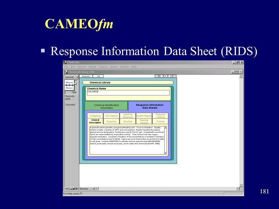 CAMEOfm Response Information Data Sheet (RIDS)