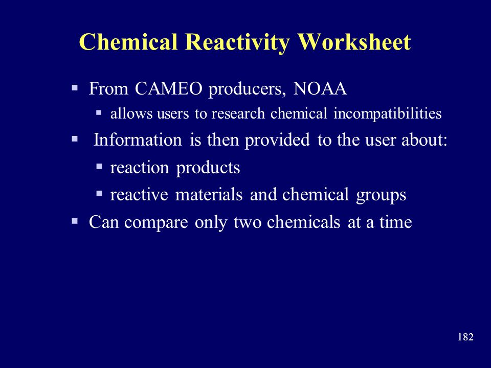 Chemical Reactivity Worksheet