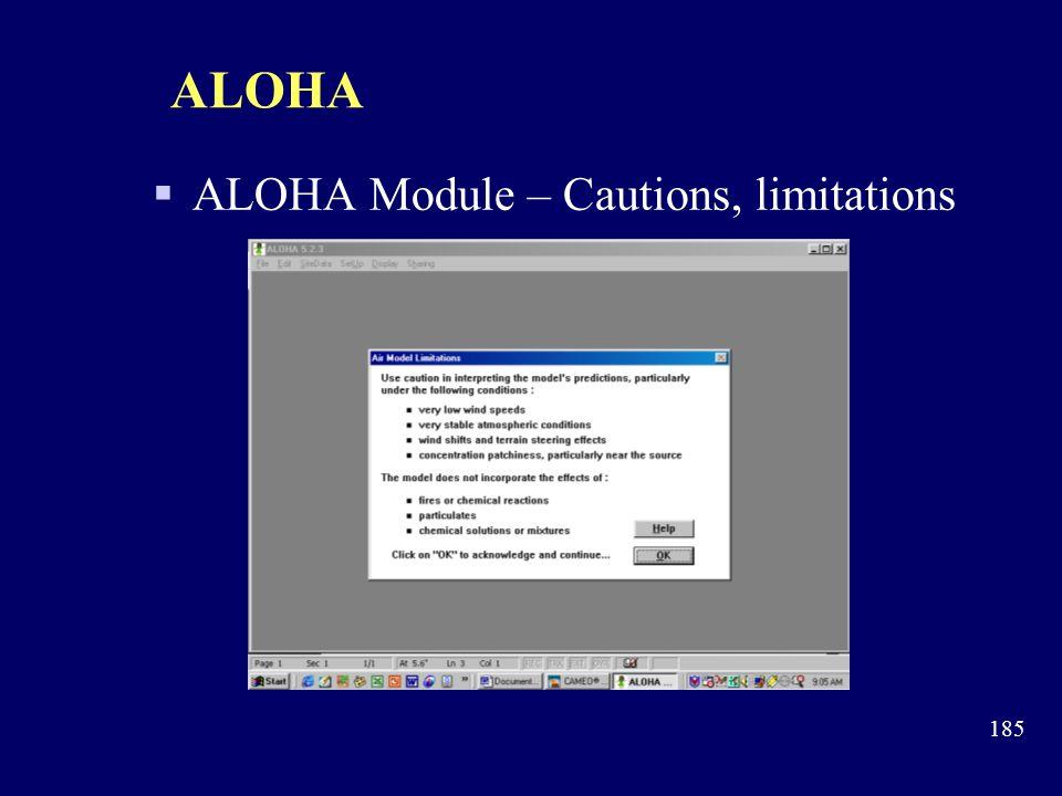 ALOHA ALOHA Module – Cautions, limitations