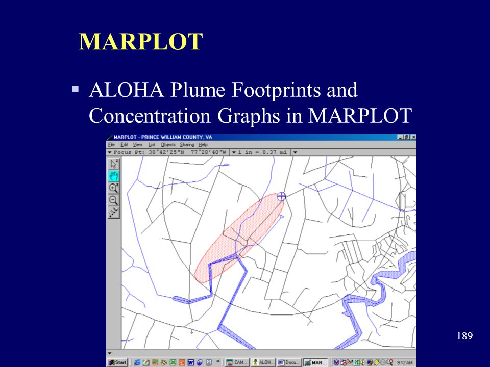 MARPLOT ALOHA Plume Footprints and Concentration Graphs in MARPLOT