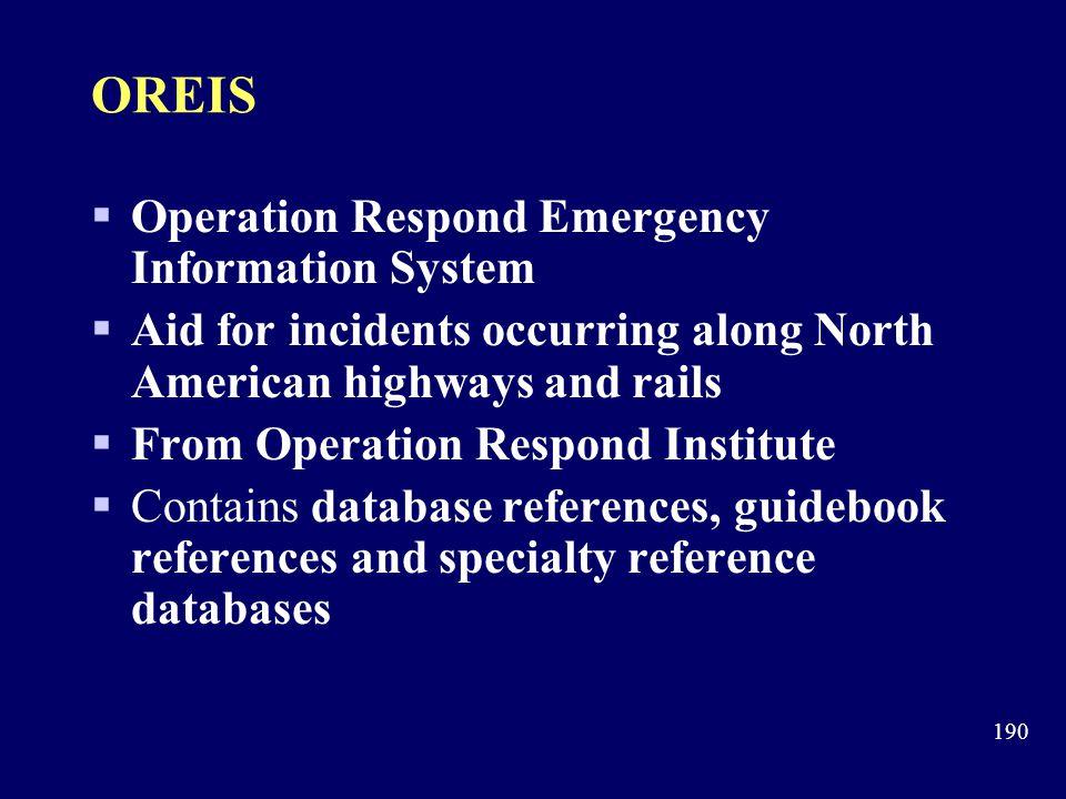OREIS Operation Respond Emergency Information System