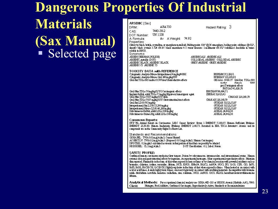 Dangerous Properties Of Industrial Materials (Sax Manual)