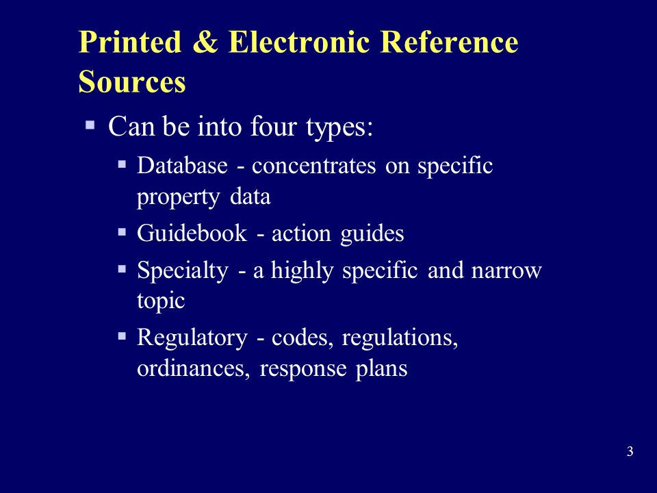 Printed & Electronic Reference Sources